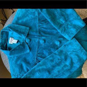 Chicos sz 2 genuine leather suede jacket